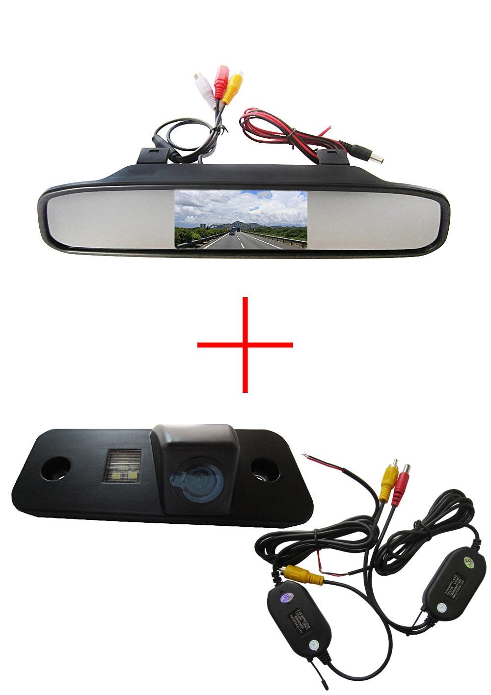 Wireless Color CCD Chip Car Rear View Camera for Hyundai Santa Fe santafe | Azera + 4.3 Inch  rearview Mirror Monitor wireless color ccd chip car rear view camera for kia sorento sportage 4 3 inch foldable lcd tft monitor