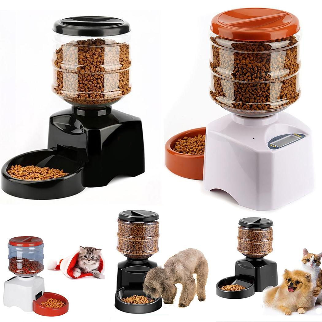 New 5 5L Automatic Pet Feeder with Voice Message Recording and LCD Screen Large Smart Dogs