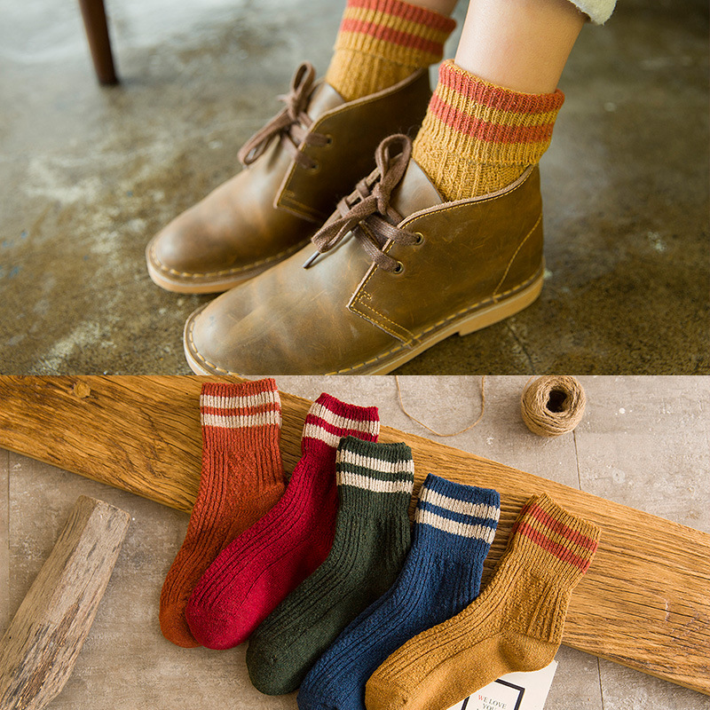 Autumn And Winter New Fashion Warm Women In The Tube Socks Harajuku Style Thick Line Casual Socks 5 Pairs
