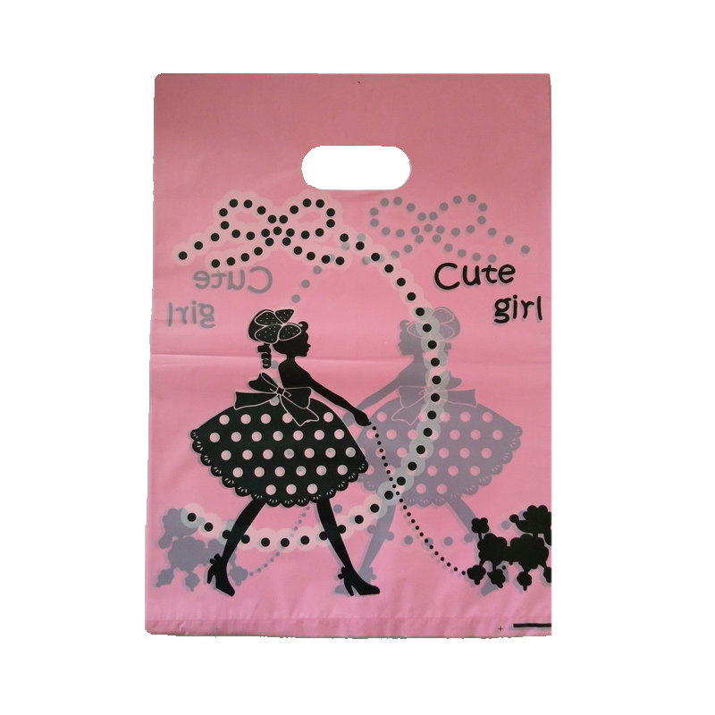 100pcs/lot Girl Dog Design Pink Plastic Gift Bag 25x35cm Boutique Jewelry Packaging Bags Cute Plastic Shopping Bags With Handle