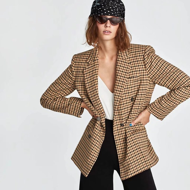 Brilliant 2018 Autumn Retro Check Plaid Blazer Long Woman Notched Collar Pocket Double Breasted Suit Casual Jacket