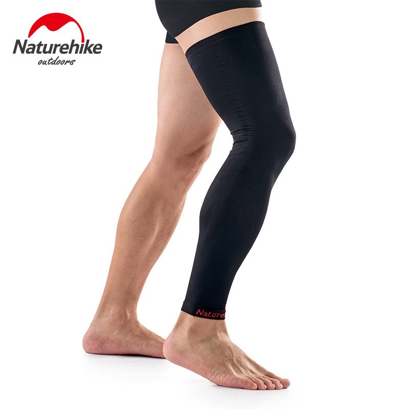 Running leggings thigh crus guards breathable elastic protect tight long Leg socks men women riding knee add pressure black L M
