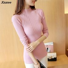 Xnxee 2018 women fashion sweater round neck  real shot Korean version of the new fall short shoulder