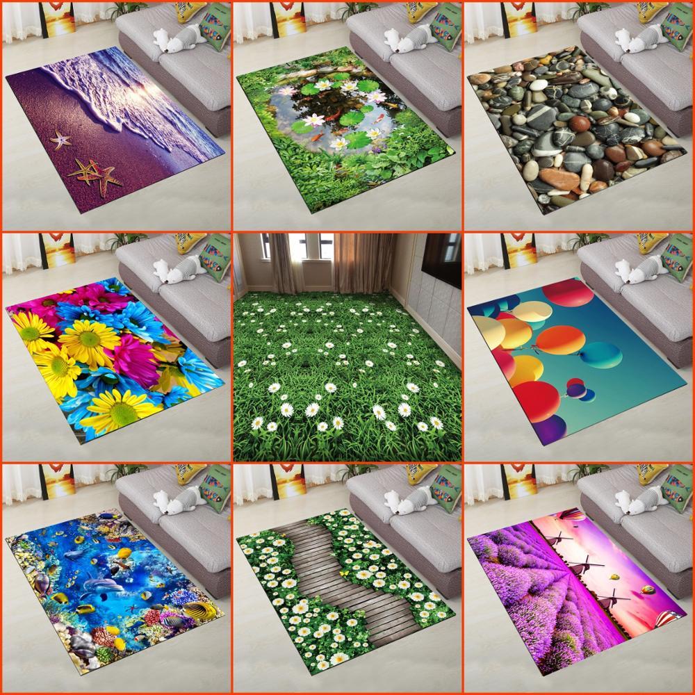 80cm*120cm New 3D Printing Hallway Carpets Bedroom Living Room KIDS Tea Table Rugs Kitchen Bathroom Antiskid Mats TAPETES