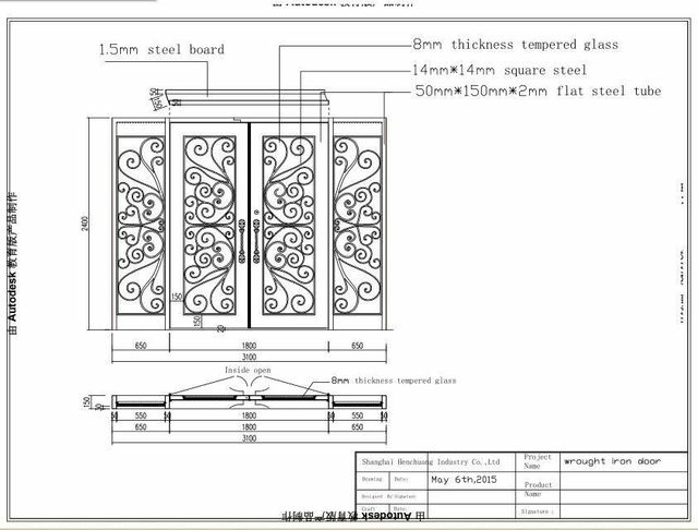 open double door drawing. Custom Design 74\ Open Double Door Drawing