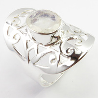 Silver Rainbow Moonstone Finger Ring Size 8.75 4.4 Grams Unique Designed