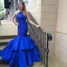 Vestido De Festa Luxury New Fashion Party Abendkleid Royal Blue Mermaid Abendkleid Elegante Pailletten Perlen Langes Abendkleid