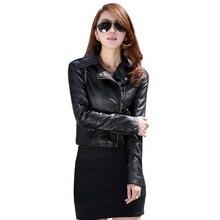 Women Leather Motorcycle Zipper collar Punk Coat Biker Jacket Lady Autumn Winter Outwear