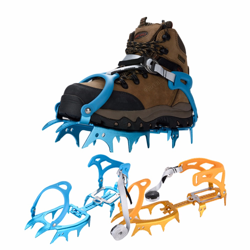 Anti-slip 14 Teeth Aluminium alloy Ice Snow Climbing TPU Cleats Crampons Gripper For Boot Shoes Safety Equipment drop shipping round snow ice climbing mountaineering shoes crampons orange pair