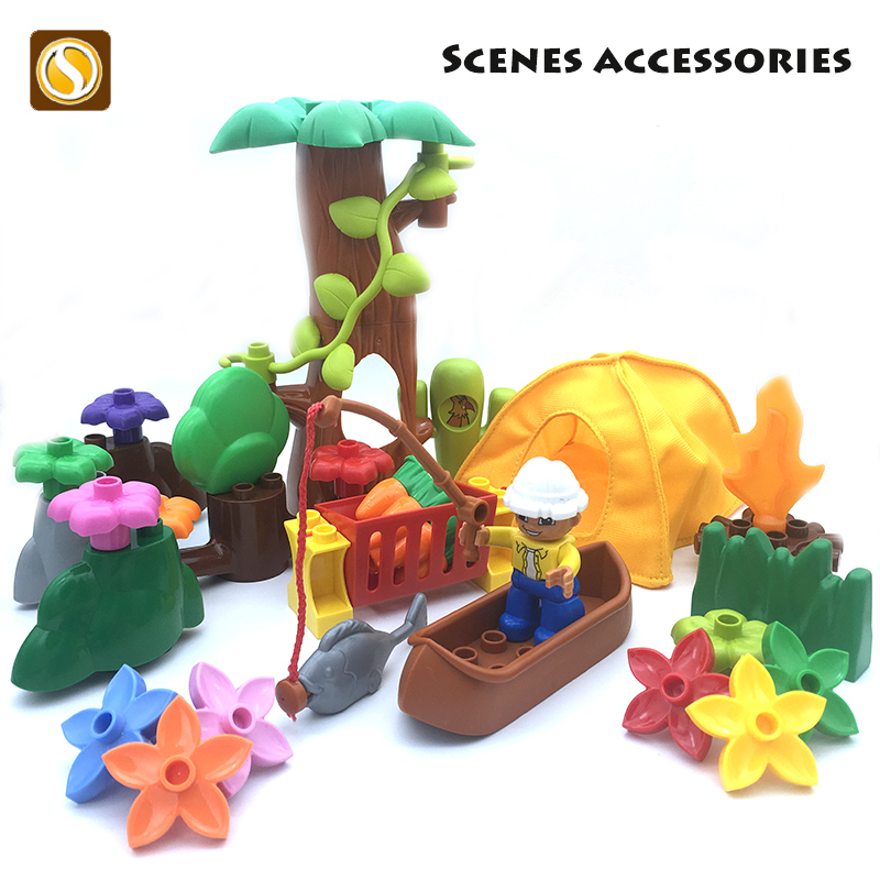 Original Big size Building Blocks Bricks tree flower grass stone Accessory children DIY Toys Compatible with Duplo city set gift big particles model building blocks forest paradise house sets children toys diy city bricks compatible with duplo birthday gift