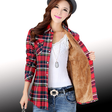 Plaid Flannel Blouse with Thick Velvet Inner Lining