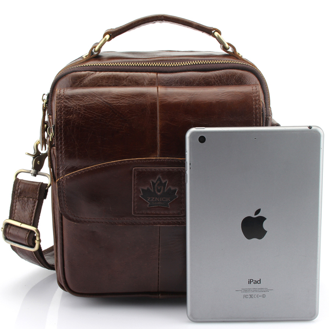 Men's Classic Style Leather Bag with Maple Leaf Shaped Embossment
