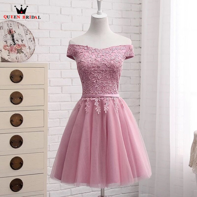 A-line Cap Sleeve Tulle Lace Short Elegant Pink/Geay/Blue/Champagne Evening Dresses Bride Party Dress Evening Gown DR03S