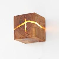 [split wooden wall light] original creative wood LED bedside lamp decoration small night light commercial wooden wall light