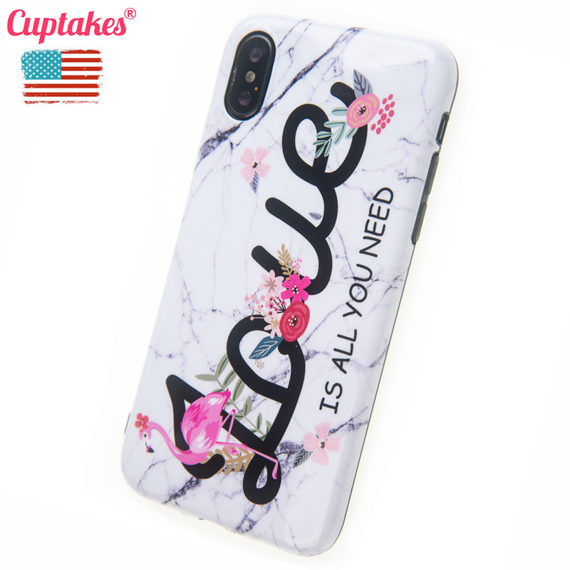 Cuptakes Luxury Brand Soft Silicone Case for Apple iPhone X Cover Cute Girl Housing Phone Cases Matte Marble Coque Name Coque