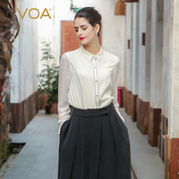 VOA белый шелковая блузка плюс Размеры Для женщин топы Формальные женские офисные рубашка Бизнес с длинным рукавом Бисер модные Костюмы осен