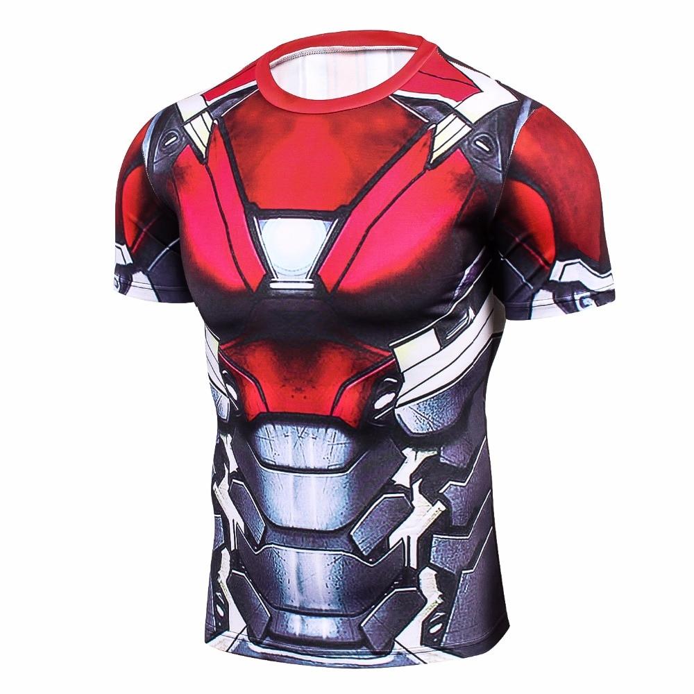 60d792c4ec Homem de ferro 3D Impresso T camisas Dos Homens Camisa De Compressão Novo  Spiderman Cosplay Manga Curta Tops Para O Sexo Masculino Roupas de Fitness  ...