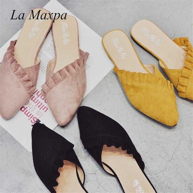 La Maxpa Women Slippers Flat Women Shoes Slip On Flat Ladies Mules Fashion Ruffles Ladies Shoes Fabric Platform Loafer Flip Flop