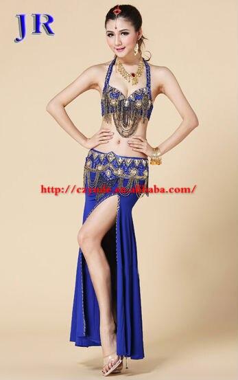 Western 3pcs ballroom belly dance beaded bra&belt&skirt dress costume novelty belly dancing clothes skirt GT 10171#