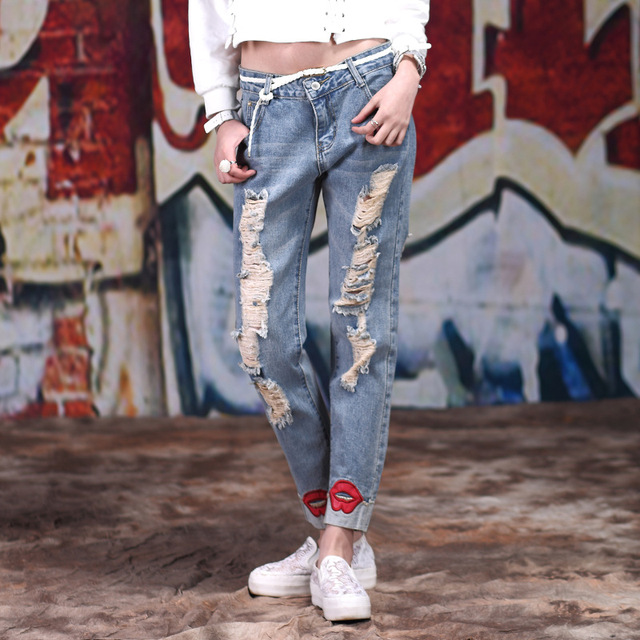 8267d10616b KL1045 Fashion women low waist plus size high elastic hole ripped jeans  denim pencil pants femme