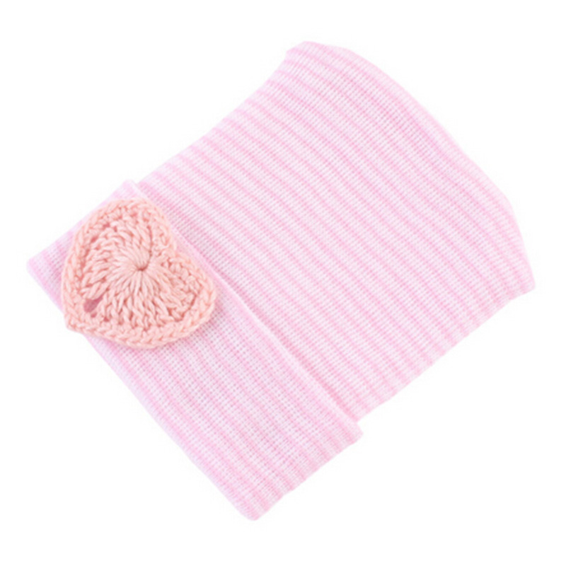 4pcs/lot Hospital Newborn Love Hat Cute Baby Girl Cotton Beanie Kids Soft Knit Striped Caps Baby Toddler Hat Accessories Gift 1pcs baby spring bow hat newborn beanie with bow for baby girls cotton knit beanie infant striped caps toddler hat accessories