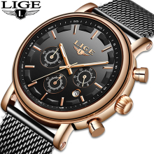 Reloj Hombre 2019 LIGE Top Brand Luxury Men Watches Waterproof Ultra Thin Date Wrist Watch Male Mesh Strap Casual Quartz Clock luxury brand men watches date clock male waterproof quartz watch men silver steel mesh strap casual sports wrist watch luminous