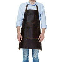 Customized Brown Full Leather Bib Apron Barber Barista Bartender Chef Uniform Cafe Bistro Salon Tattoo Shop