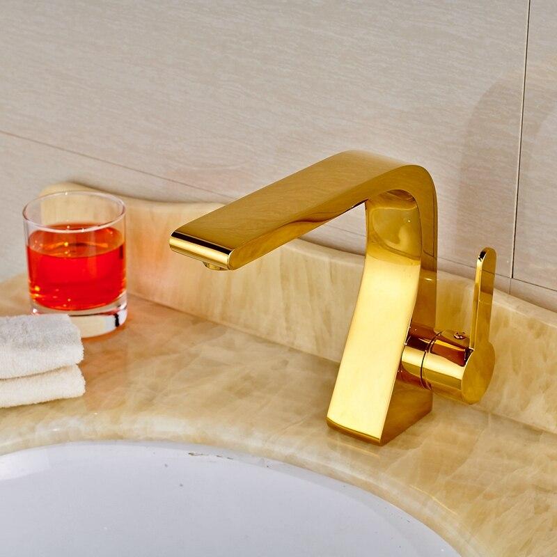 Deck Mounted Soild Brass Vanity Golden Polish Bathroom Faucet Mixer Single Hole декор lord vanity quinta mirabilia grigio 20x56