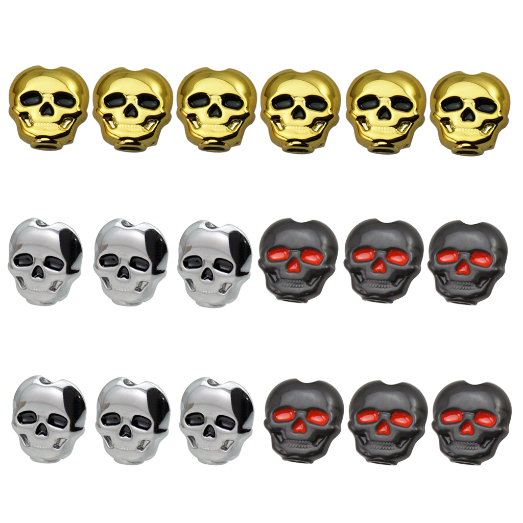 6 Pieces Skull Shape Ebony Buttons With Screws And Washers Classical Guitar Tuning Peg Key Set Tuner Button