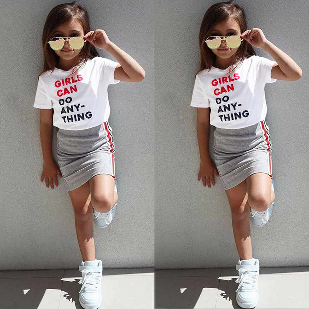 36909e910a4bd Children Girls Clothes 2019 Summer Toddler Kid Baby Girl Clothing Short  Sleeve Letter T shirt+Skirts Outfits 1 2 3 4 5 Years