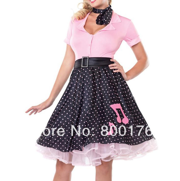 Free Shipping  Zy274 50s Poddle Dress Costume Gorgeous 50's Poodle Rockabilly Retro Swing Grease Fancy Dress Costume Plus Size