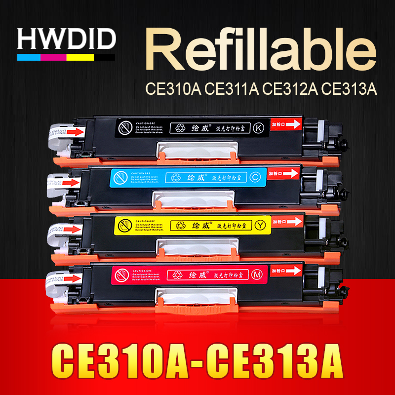 HWDID 1pcs CE310A CE311A CE312A CE313A Compatible Color Toner Cartridge 126A for HP Laser CP1025 CP1025nw M275mfp M175a M175nw 4pk ce310a ce311a ce312a ce313a compatible color toner cartridge 126a for hp laserjet cp1025 cp1025nw m275mfp m175a m175nw