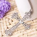 Crystal Rhinestone Infinity Cross Necklace Silver Chain Long Collier Femme Sautoir Gem Goth Jewelry Crucifix Necklaces For Women