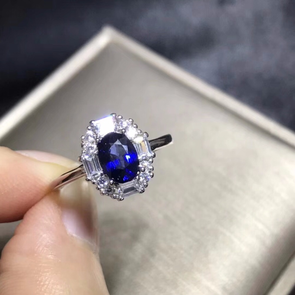 Uloveido Natural Dark Blue Sapphire Ring 925 Silver Wedding Ring Fashion Style High Quality Classic Ring