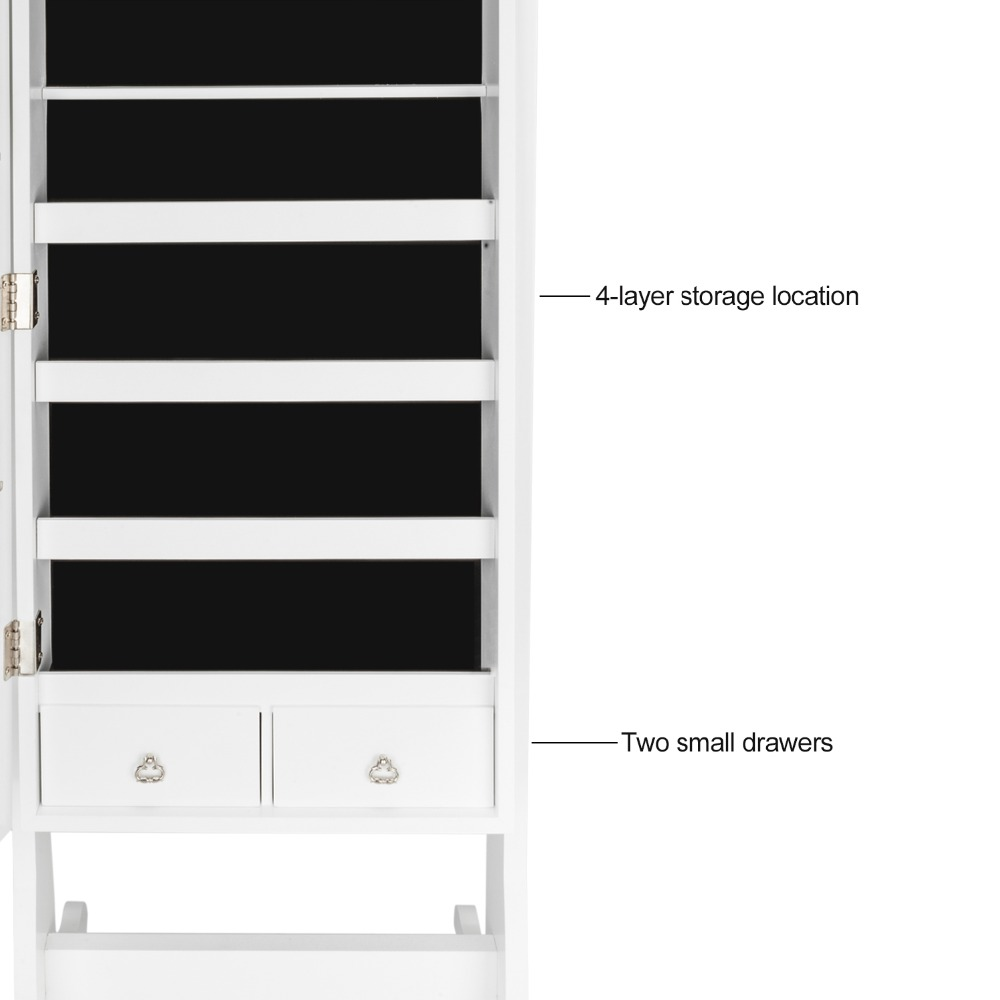 Lockable Jewelry Cabinet Organizer Storage Box Stand with Makeup mirror White Dresser Home Furniture for bedroom (6)