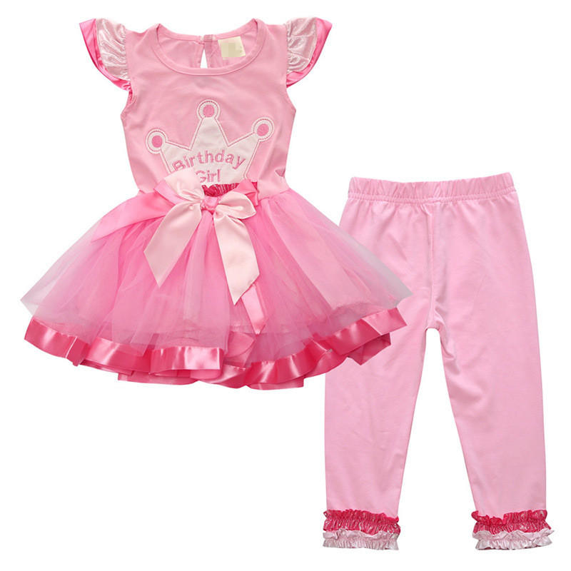0-5T/2016 Christmas Children Clothing Girls Dress Pant 2pcs baby set Birthday Girls Costume Kids Outfits Dresses Tracksuits A060