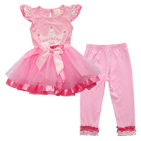 0 5T/2016 Christmas Children Clothing Girls Dress Pant 2pcs baby set Birthday Girls Costume Kids Outfits Dresses Tracksuits A060