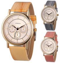 2017 New Fashion Geneva Faux Chronograph Ladies Women Wood Leather Analog Quartz Wrist Watch relogio feminino Dropshipping