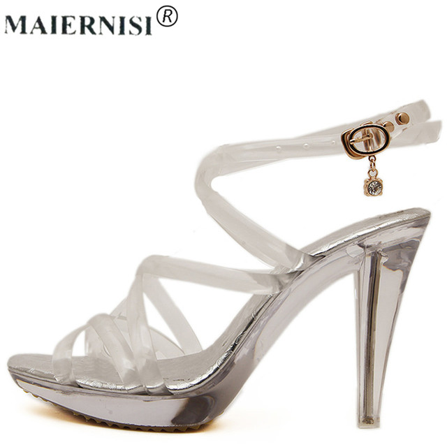 09b03fd5079 Summer Platform sexy clear pvc strappy sandals Shoe for stripper pole dance  Women Large Size High heel Big Pump Lady female Plus