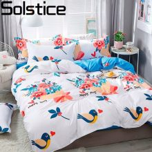 Solstice Home Textile Autumn Winter Cartoon Stripe Duvet Cover Flat Sheet pillowcase 3/4pcs Bed Linens Bedding Set Bed Cover Set(China)