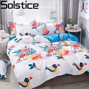 Solstice Home Textile Autumn Winter Cartoon Stripe Duvet Cover Flat Sheet pillowcase 3/4pcs Bed Linens Bedding Set Bed Cover Set(China)