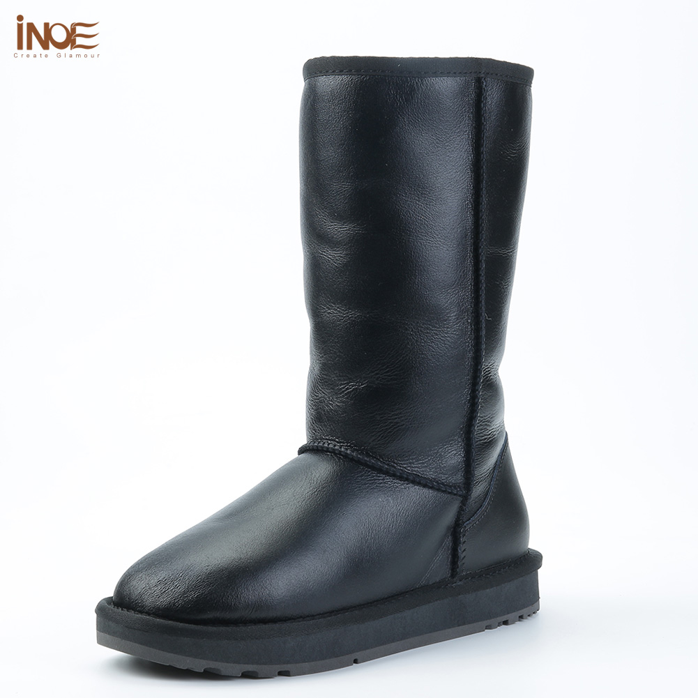 INOE Classic real sheepskin leather sheep wool fur lined high man winter snow boots for men winter shoes waterproof 34-44 black image