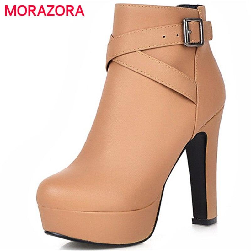 MORAZORA Big size 34 45 ankle boots high heels shoes woman PU soft leather platform shoes