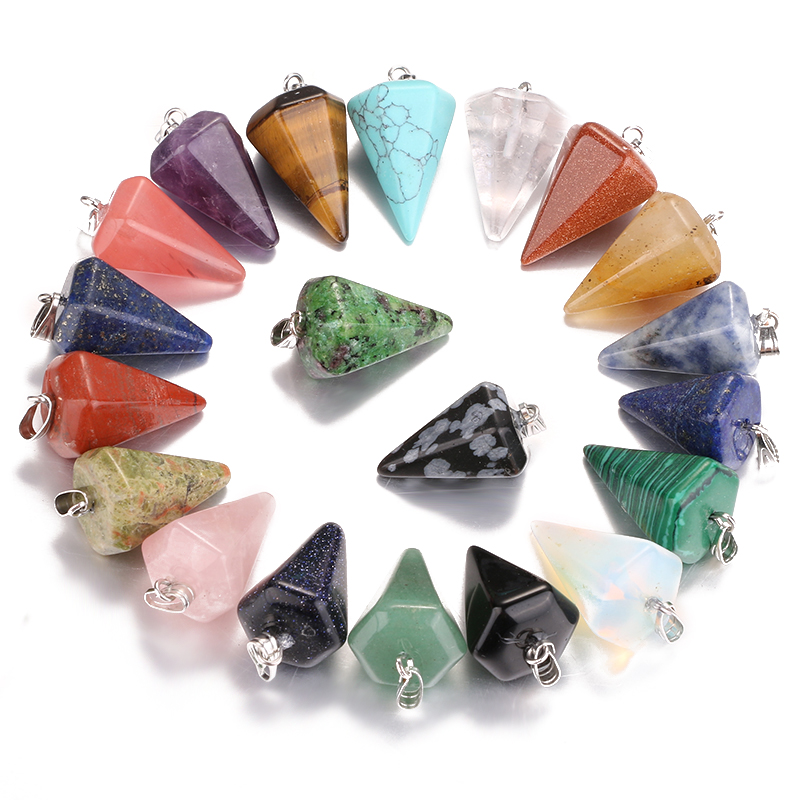 New!Fashion natural stone pendant hexagonal cone shape charm jewelry line hammer DZ137 let 10 PCS wholesale free shipping