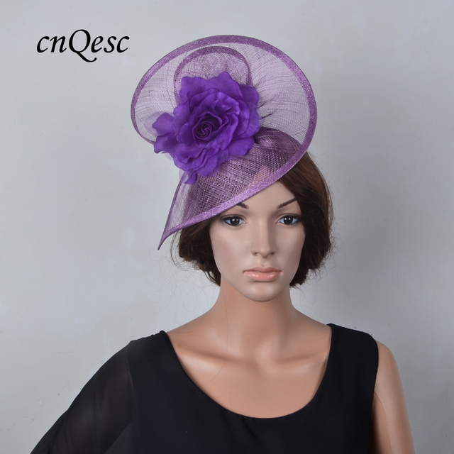 d9bcf6e9e036e NEW purple lavender Royal Wedding Races Sinamay Fascinator fedora hat  SPECIAL shape with silk flower for Kentucky Derby.QF035S