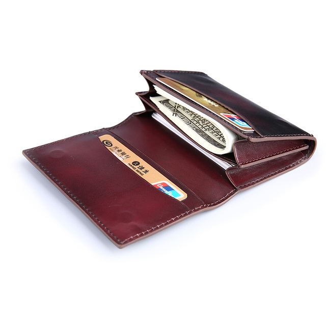 TERSE_Customize logo genuine leather card holder with money pocket men handmade in blue/ burgundy/ coffee factory price