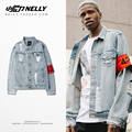 424 FourTwoFour damaged water do old zipper with bull-puncher dress denim jacket GD high street men and women
