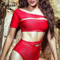 Bqueen 2017 New Hot Cut Out Sexy One Piece Bandage Swimsuits Red Skinny Bikini Bodysuits Bathing Suit