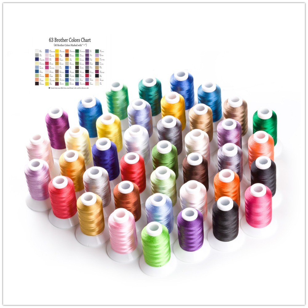 Simthread 40 Brother Colors Polyester Embroidery Machine Thread Kit for Janome Brother Bernina Babylock Singer Pfaff