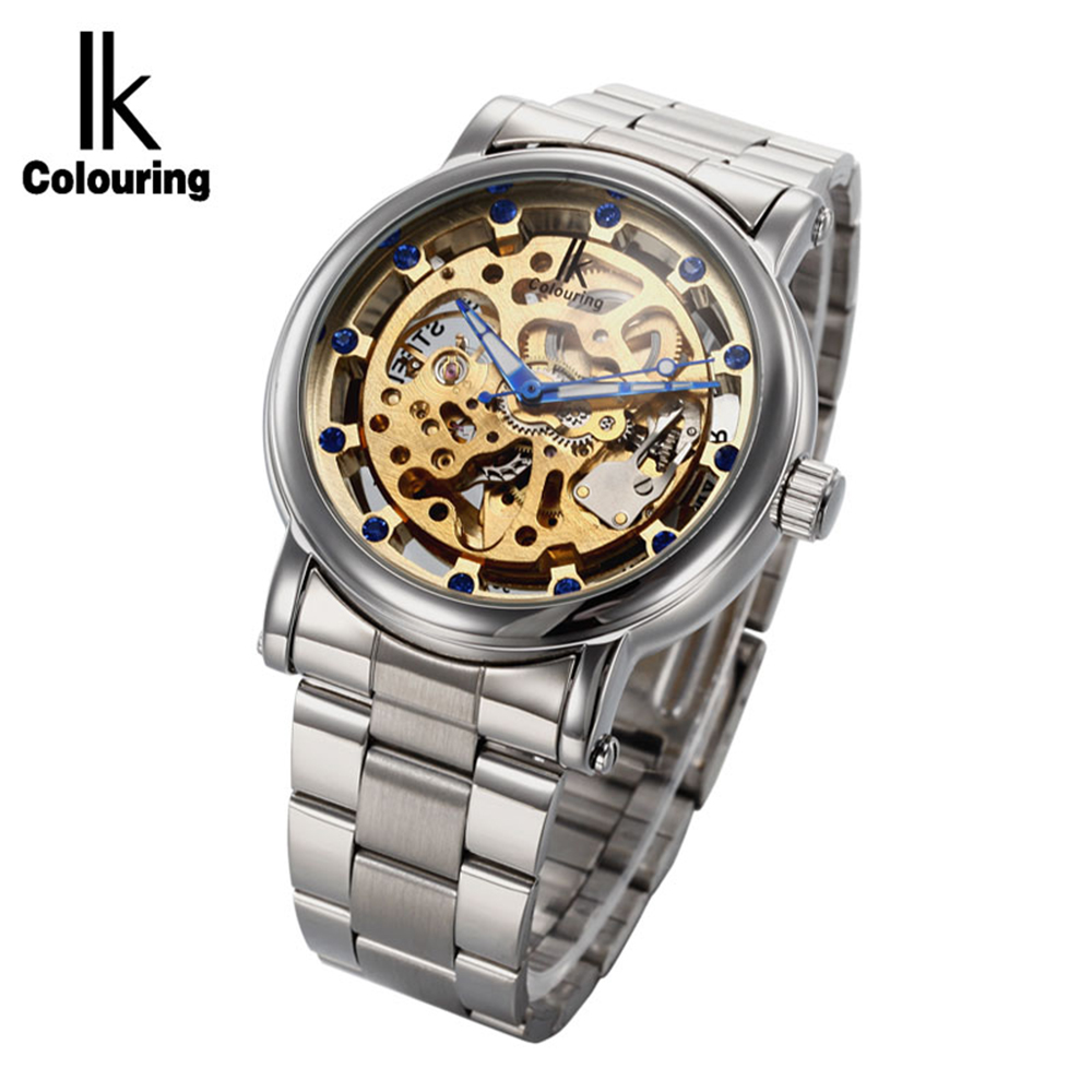 IK Colouring Brand Men Skeleton Mechanical Wristwatch Luxury Rhinestone Dial Stainless Steel Band Automatic Self Wind Male WatchIK Colouring Brand Men Skeleton Mechanical Wristwatch Luxury Rhinestone Dial Stainless Steel Band Automatic Self Wind Male Watch